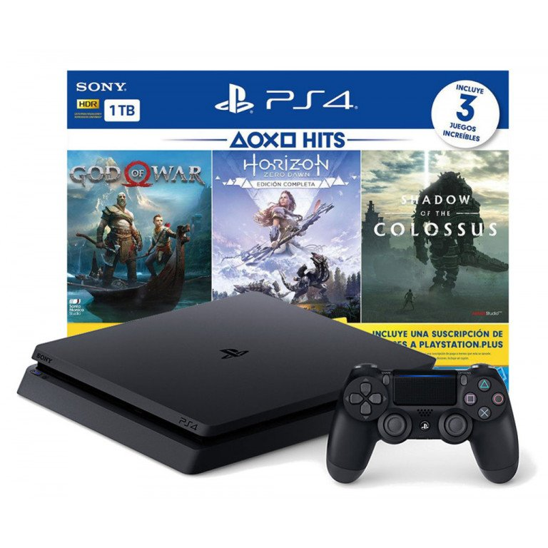 Sony Playstation 4 + 3 videojuegos, God of War, Horizon, Shadow of the colossus. Consola 1TB HDR LATAM