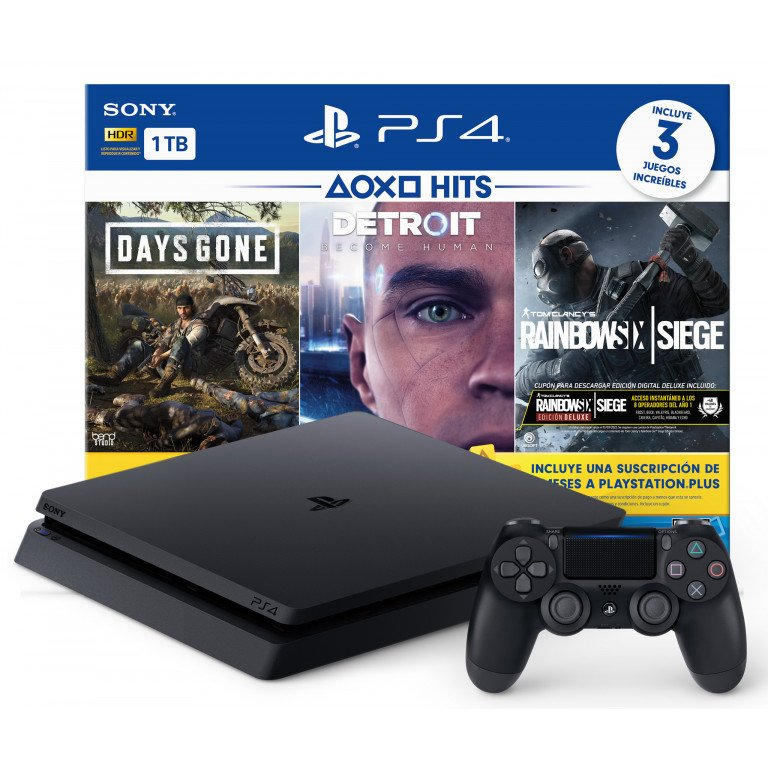 Sony Playstation 4 + 3 videojuegos, Days Gone, Detroit, Rainbow Six Siege. Consola 1TB HDR LATAM